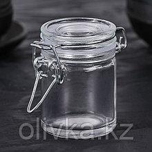 Банка для сыпучих продуктов «Оптима», 80 мл, 6,5×4,5×6 см, с бугельным замком
