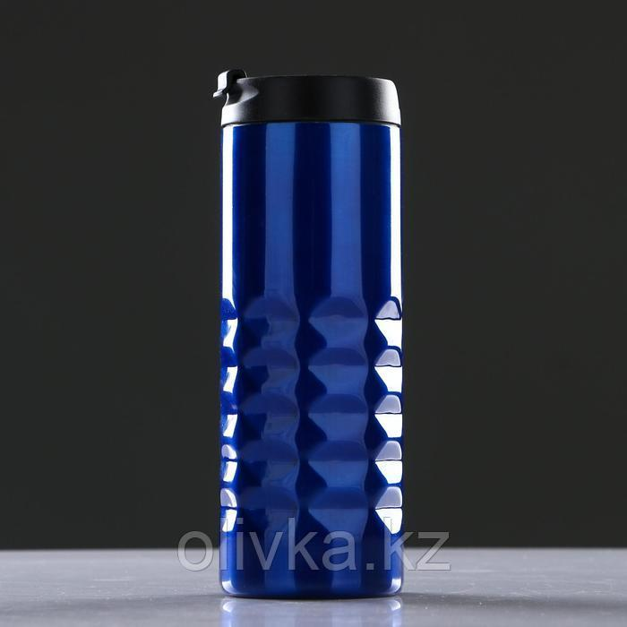 Термокружка 500 мл, прямая, без ручки, ромбы внизу, внутри пластик, микс, 7х20 см