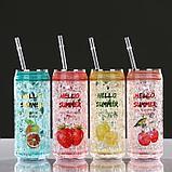 Охлаждающий стакан 300 мл Hello Summer , сохраняет холод 2 ч, 7х18.5 см, (+трубочка)  микс, фото 4