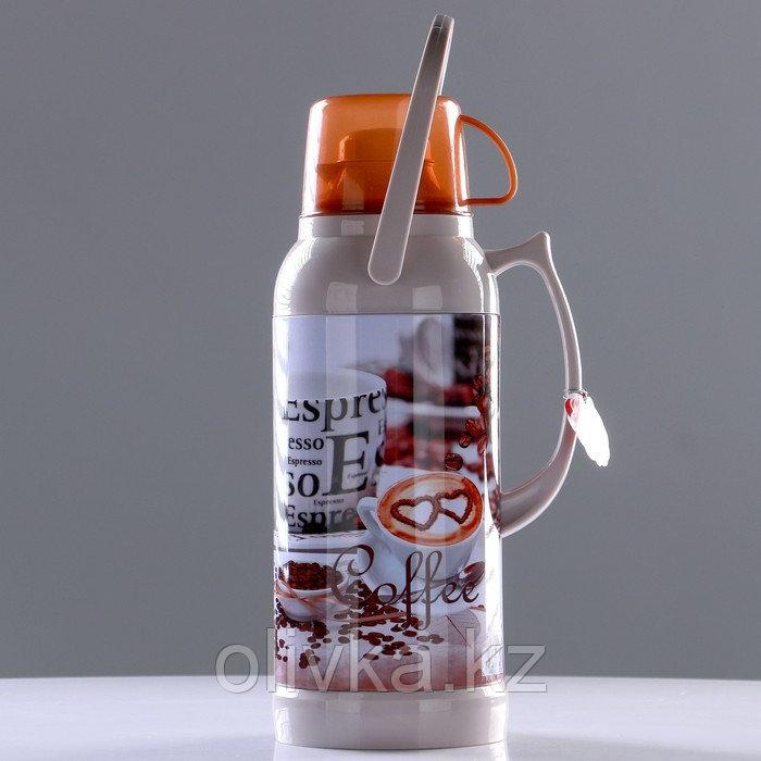 "Термос ""Coffee"" 3.2 л, кнопка, 1 кружка, микс, 21х44.5 см"