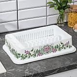 Сушилка для посуды IDEA «Деко. Каменная роза», 40×26×9 см, цвет белый, фото 3