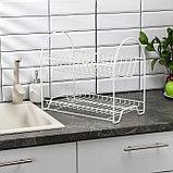 Сушилка для посуды 2-х ярусная «Люкс», 40×24×35 см, цвет белый, фото 2