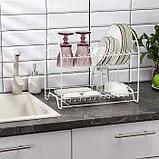 Сушилка для посуды 2-х ярусная «Люкс», 40×24×35 см, цвет белый, фото 3