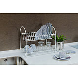 Сушилка для посуды 2-х ярусная «Люкс», 40×24×35 см, цвет белый, фото 4