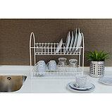 Сушилка для посуды 2-х ярусная «Люкс», 40×24×35 см, цвет белый, фото 5