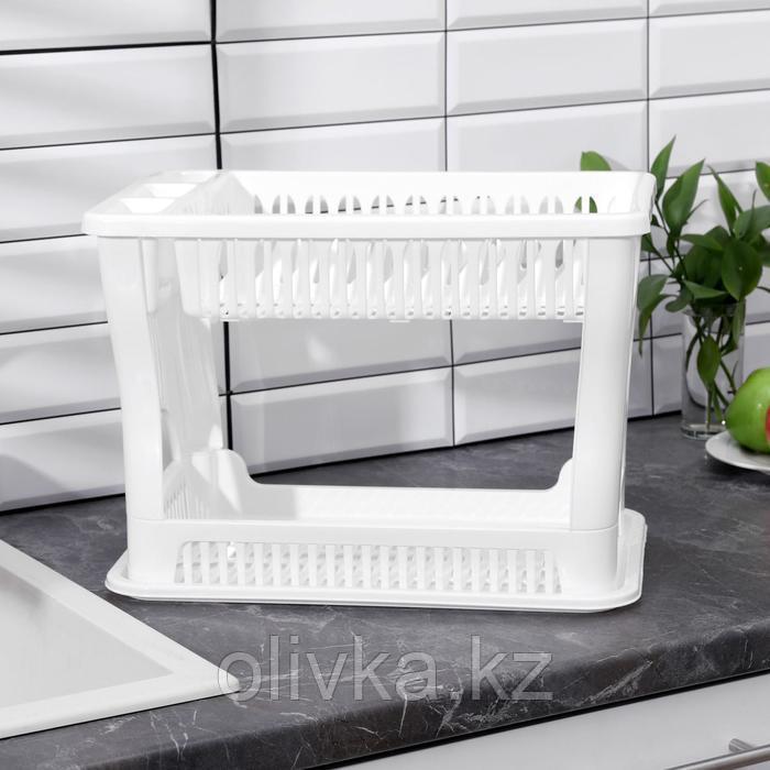 Сушилка для посуды 2-х ярусная IDEA, 42×27×32 см, цвет белый