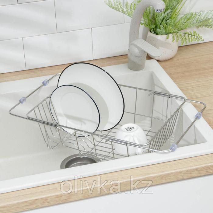 Сушилка для посуды раздвижная на раковину Доляна, 35-45,7×25×11 см