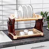 Сушилка для посуды 2-х ярусная Милих, 52×30×30 см, цвет кремовый, фото 2