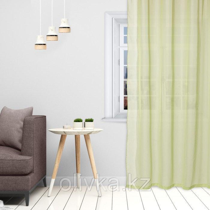 Тюль «Этель» 135×150 см, цвет светло-зеленый, вуаль, 100% п/э