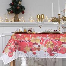 """Скатерть """"Доляна"""" Новогодние подарки 145х120см,100% п/э, оксфорд 210 гр/м2"""