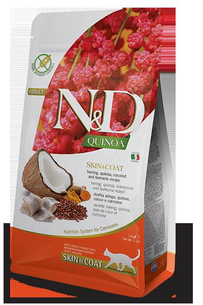 N&D сельдь, киноа, кокос, куркума, здоровье кожи и шерсти, уп.5кг.