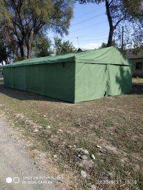 Палатка армейская брезентовая на каркасе 5х7м. 5х8 м. 6х10м. - фото 1