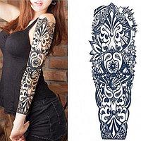 Временное тату полный рукав с узором черный QB-3010 15х43 см
