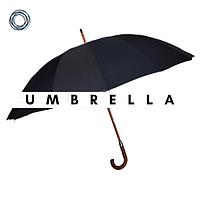 Зонт классически черный с деревянной ручкой S.Lantana