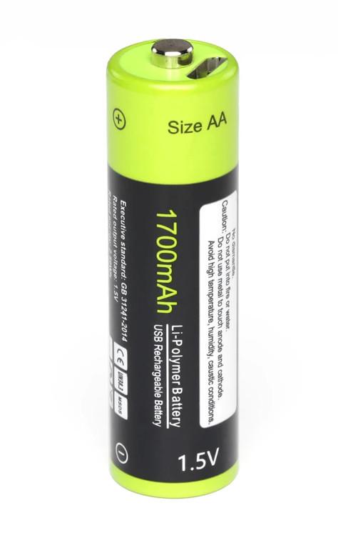 Аккумулятор АА 1,5V 1700 mA с зарядкой от USB