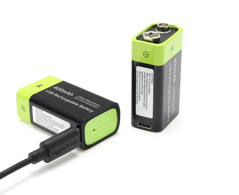 Аккумулятор Крона 9V 400 mA с зарядкой от USB
