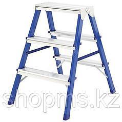 Лестница-стремянка стальная двусторонняя, 3 ступени, Н=65 см, вес 3,1 кг 65392