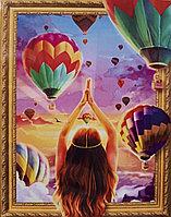 """Алмазная мозаика на подрамнике круглые стразы 7D """" Воздушные шары"""" 50х40"""