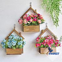Деревянная полочка - кашпо для цветов в скандинавском стиле
