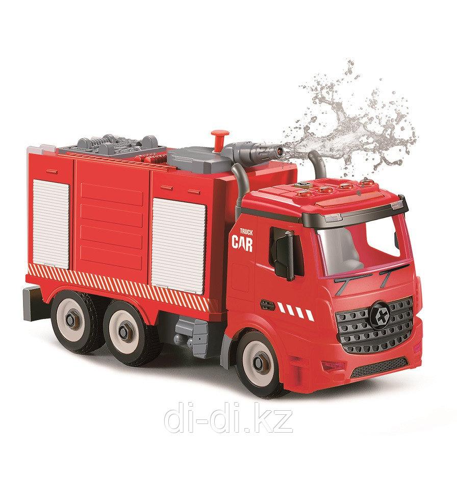 Пожарная машина-конструктор, фрикционная, свет, звук, вода, 1:12