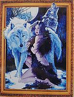 """Алмазная мозаика на подрамнике круглые стразы 7D """" Девушка и волки """" 50х40"""
