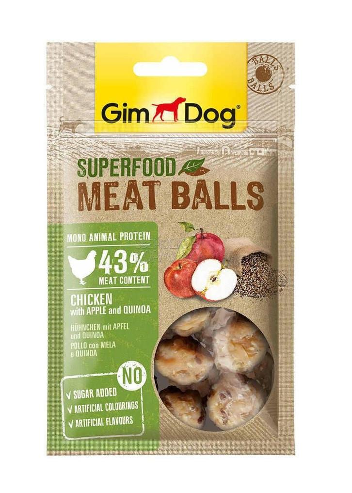 GimDog мясные шарики, курица с яблоком и киноа, уп.70гр.