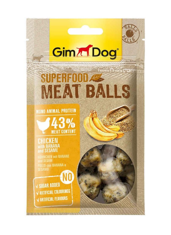 GimDog мясные шарики, курица с бананом и кунжутом, уп.70гр.