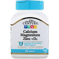 Кальций, магний, цинк + D3 № 90 таблеток 21st Century