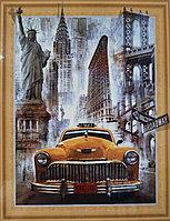 """Алмазная мозаика на подрамнике круглые стразы 7D """" Нью-Йорк """" 50х40"""