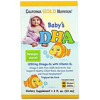 IHerb California Gold Nutrition Baby's DHA Омега 3 с витамином D3 1050 мг 59 мл