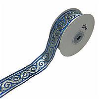 Лента декоративная жаккардовая, с орнаментами 35 мм, N-01 голубой