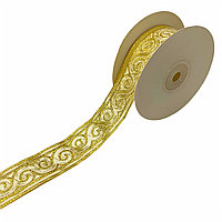 Лента декоративная жаккардовая, с орнаментами 35 мм, N-01 золотой