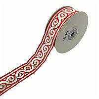 Лента декоративная жаккардовая, с орнаментами 35 мм, N-01 красный