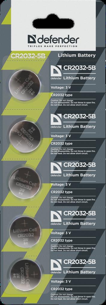 Элемент питания Defender CR2032 - 5 штук в блистере