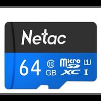 Карта памяти MicroSD 64GB Class 10 U1 Netac P500STN с адаптером SD