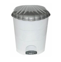 Контейнер д/мусора 11,0л с педалью, бело-серый (Violet plast, Россия)