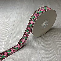 Лента декоративная жаккардовая, с орнаментами 25 мм,N-07 малиновый