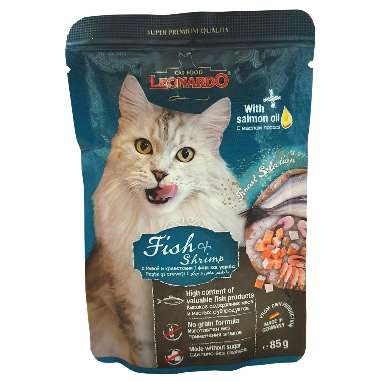 Leonardo Влажный корм для кошек, рыба и креветки