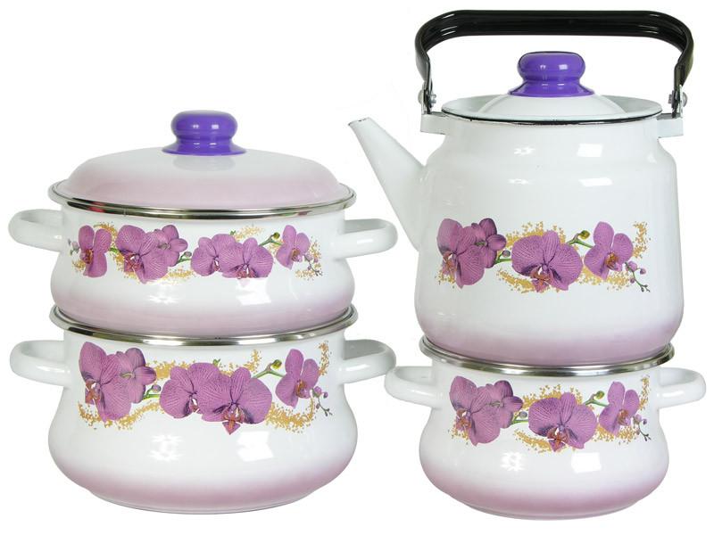 """Набор эмалированных кастрюль с чайником """"Орхидея"""", №31"""