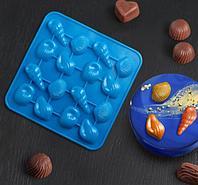"Форма для льда и шоколада 16 ячеек 17,3х17,3х1,5 см (3,4х2,5 см) ""Ракушки"" цвет МИКС"