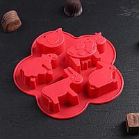 """Форма для льда и шоколада 5 ячеек """"Домашние животные"""", 17х17х2,5 см, цвет МИКС"""