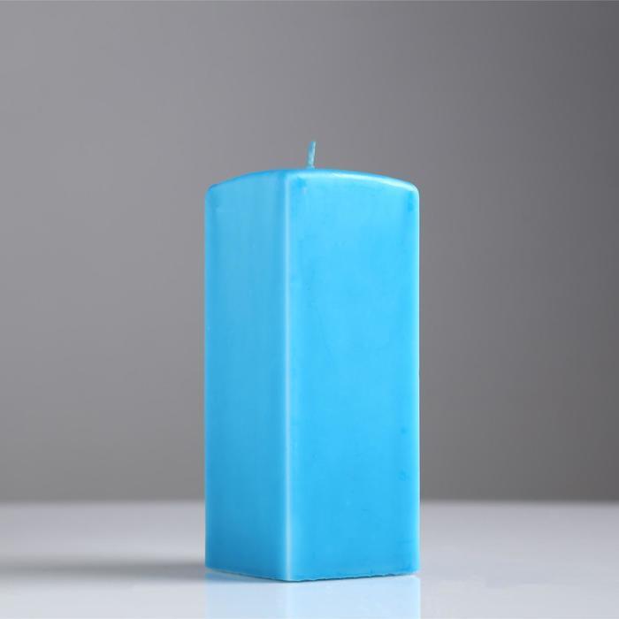 Свеча квадратная призма, 6х15 см, голубая лакированная