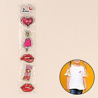 Термоаппликация со стразами «Губы, сердце, love», 5 × 5,5 см, 6 шт на листе, цвет МИКС
