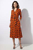 Женское осеннее из вискозы оранжевое платье Mia-Moda 1238-2 46р.