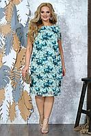 Женское осеннее шифоновое голубое большого размера платье Alani Collection 1353к 52р.