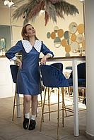Женское осеннее кожаное синее платье Alani Collection 1351 42р.