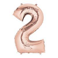"""Шар фольгированный 30"""" Цифра 2, индивидуальная упаковка, цвет розовое золото, 1 шт."""