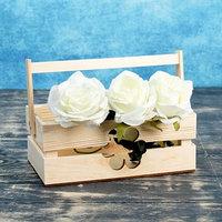 Кашпо деревянное 24.5x13.5x9 см 'Двушка Лайт', двухреечное, цветок Дарим Красиво
