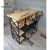 Барный стол с винницей + барные стулья со спинкой
