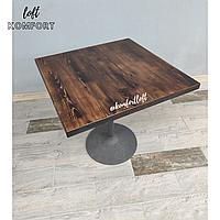 Стол на одной ножке с деревянной столешницей